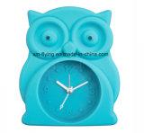 おかしい動物のフクロウの形の学生のための小型居眠りの黙秘者のシリコーンの机の目覚し時計