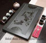 Il granito nero ha reso ad ardesia il bello cassetto di tè di pietra