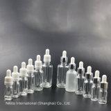 Frasco gotero de cristal transparente con tapa Pilfer-Proof, botella de aceite esencial (NBG02B)