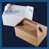 Caixa de bolo de papel portátil lisa feita sob encomenda de Kraft para a embalagem