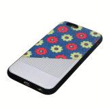 Caja híbrida del teléfono móvil de la goma TPU de la PU para el iPhone