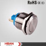 Imperméable en acier inoxydable 19mm lumineux à LED Commutateur à bouton poussoir momentané