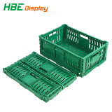 Het Fruit en de Groenten van supermarkten gebruiken de Vouwbare Plastic Kratten van de Manden van de Omzet met Opvouwbaar Ontwerp
