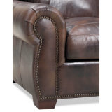 sofá de cuero 3+2+1modern del ajuste de Nailhead