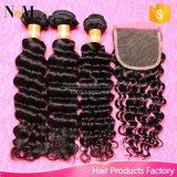 Волосы девственницы глубокой волны бразильские курчавые с закрытием, свободно серединой 3 части закрытия с пачками, Unprocessed человеческих волос с закрытием
