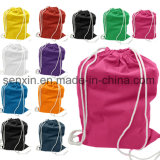 Мешок Backpack Drawstring хлопка, Zippered мешок шнура
