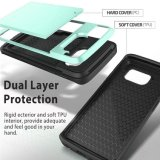 Mint Green Wallet Anti-riscos de borracha à prova de choque Hard Cover Skin Card Slot Holder for S8 Plus