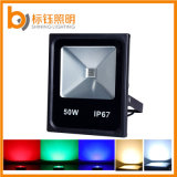 Fábrica RGB 50W 5000lm IP67 Slim Outdoor LED Flood Light