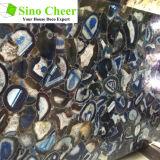 別の形の不規則で美しく青い瑪瑙の自然な大理石の平板