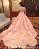 Vestido de noiva de renda rosa Beading Pink Wedding Dress B197