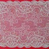 상아빛 메시 레이스 직물에 의하여 뜨개질을 하는 레이스 의복 직물 고무줄 직물