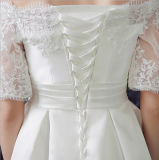 Bateau-Satin-Spitze Mittler-Kalb Hochzeits-Kleid 2017 mit Paillettes (Dream-100068)