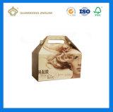 カスタムポルカドットのEフルート段ボール紙の着色された切り妻ボックス(ハンドルの切り妻ボックス)