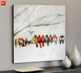 Het kleurrijke Olieverfschilderij van Vogels met Frame voor Decoratie