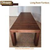 Mesa de jantar de extensão de madeira recuada longa, mesa de jantar extensível