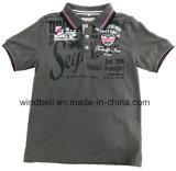 Camisa de algodão de algodão com melange de cor para bordado
