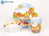 3PCS Cute Design Porcelana Kids Breakfast Set