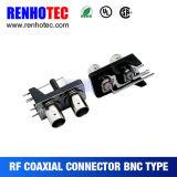 Connecteur coaxial femelle à angle droit BNC avec boîtier noir