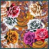 Digital-Drucken-Sommer-Dame Vintage Silk Scarf (F13-0076)