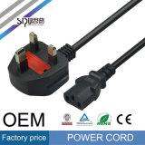 Câble BRITANNIQUE d'alimentation AC de cordon d'alimentation de la fiche C13 C14 de Sipu