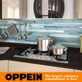 Armadi da cucina di legno acrilici dorati dell'indicatore luminoso di disegno di Oppein Italia (OP14-057)