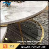 Table à café en acier inoxydable avec du marbre haut de page