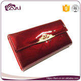 Кожа нового длиннего бумажника карточки женщин неподдельная, бумажник с выбитыми листьями