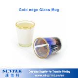 taza de cristal de la sublimación 11oz transparente con el borde del oro
