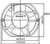 ventilador sem escova da C.C. de 12/24/36/48V 172X172X51mm E com aprovações