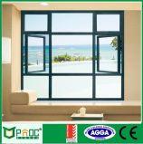 Сдобренный алюминиевый Casement Windows с Built-in слепой штаркой Pnoc0050cmw