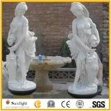 Белая мраморный каменная высекая повелительница Рисунок для сада и украшения
