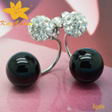 Ager-004 Unique Color Negro 10mm ágata plata de los pendientes de gota