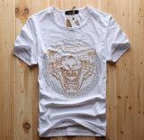 Le circuit d'été d'usine gaine autour du T-shirt des hommes minces Drilling chauds en gros de Rhinestones de tête de tigre de collet