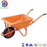 Wheelbarrow amarelo da bandeja do metal