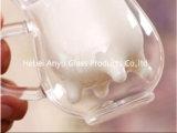 Forma de vaca jarra de vidrio de doble pared de la leche de la copa de cristal de 8oz.