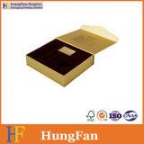 Rectángulo de regalo cosmético de la impresión en color de embalaje de la joyería de oro del papel