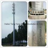 L'acier galvanisé tube unique monopole de la tour de télécommunications à micro-ondes de Radio de l'antenne