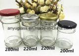 뚜껑 음식 병을%s 가진 200ml 둥근 귀여운 꿀 유리제 단지