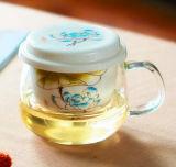 Tazza di tè di vetro di disegno del fiore con la tazza di vetro del regalo del tè di ceramica del filtro
