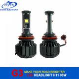 차를 위한 H11 3000lumens 30W 6000k G3 V16 터보 크리 사람 LED 헤드라이트