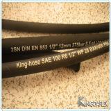 Boyau en caoutchouc résistant tressé du pétrole R3 hydraulique du textile SAE 100