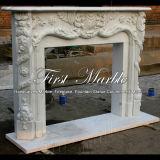 Camino bianco di Carrara per la decorazione & la mobilia domestiche Mfp-100