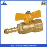 Valvola a gas d'ottone gialla della maniglia En331 con l'ugello (YD-1035)