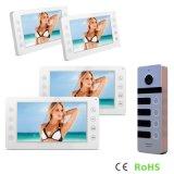 7 pulgadas de intercomunicador de la seguridad casera con el teléfono video de la puerta de la cámara al aire libre de 4 botones
