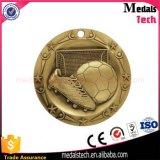Medalla redonda antigua de encargo barata del fútbol del metal 3D