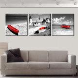 3 قطعة جدار فن [سسكب] شاطئ يطبع [أيل بينتينغ] على نوع خيش زورق أحمر صور زخرفيّة لأنّ جدار زخرفة [مك-249]