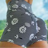 Estilo quente no Verão de 2020 Nova Stripe pequena elevação de impressão Floral alta relação cintura quadril Ioga Esportes mulheres curtos