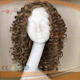 Peluca atada mano completa rizada brasileña del silicón del pelo humano del estilo de la manera