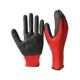 Gants rouges chauds de latex de polyester des ventes 13G