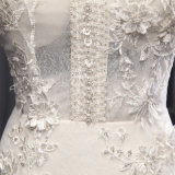 人魚の花嫁の婚礼衣裳に玉を付ける高いカラーレース